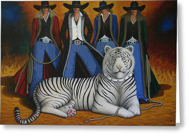 Arizona Contemporary Cowboy Greeting Cards - Pussycat Dolls Greeting Card by Lance Headlee