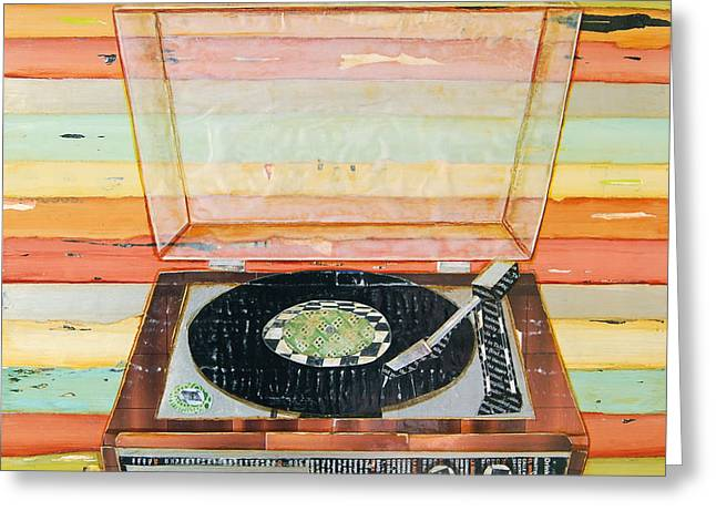 Whimsical Mixed Media Greeting Cards - Put a Needle On the Record Greeting Card by Danny Phillips