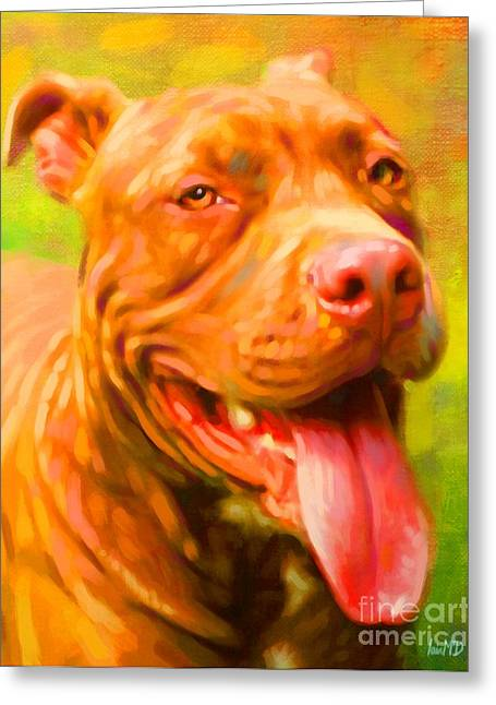 Cute Puppy Pictures Digital Art Greeting Cards - Pit Bull Portrait Greeting Card by Iain McDonald