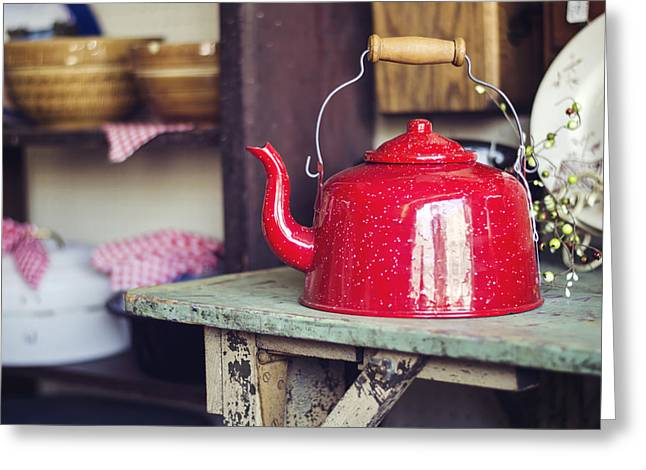 Tea Kettle Greeting Cards - Put the Kettle On Greeting Card by Heather Applegate