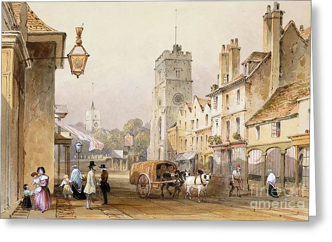 Horse And Cart Greeting Cards - Putney High Street, 1837 Greeting Card by British Library