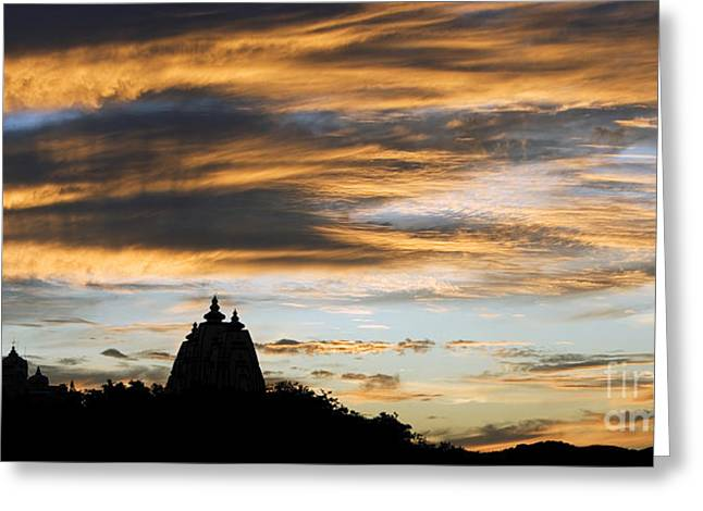 Dusky Greeting Cards - Puttaparthi Sunset Greeting Card by Tim Gainey