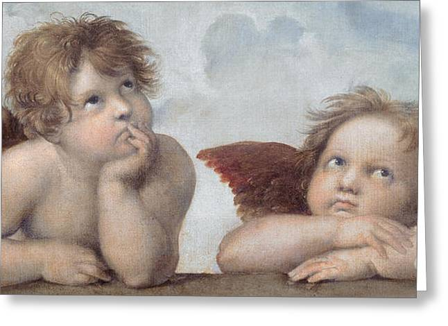 Innocence Paintings Greeting Cards - Putti detail from The Sistine Madonna Greeting Card by Raphael