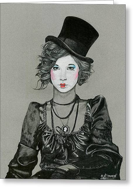 Ink And Pencil Girl Drawings Greeting Cards - Puttin On The Ritz Greeting Card by TP Dunn