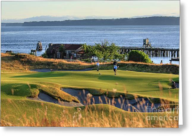 University Place Greeting Cards - Putting 17 - Chambers Bay Golf Course Greeting Card by Chris Anderson