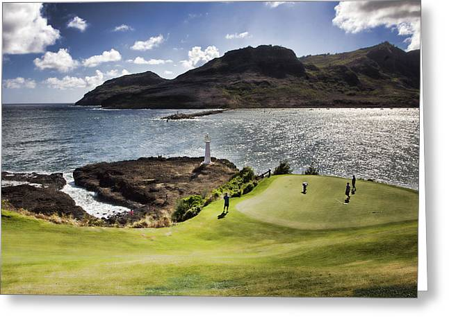 Seafront Greeting Cards - Putting Green in Paradise Greeting Card by Douglas Barnard