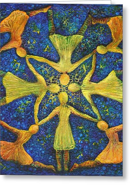 Woman Reliefs Greeting Cards - Putting our Heads Together Greeting Card by Linda Carmel