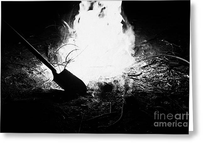 Earth Burned Greeting Cards - Putting Out With Shovel A Burning Eucalyptus Wood In An Intense Camp Fire Los Pellines Chile Greeting Card by Joe Fox