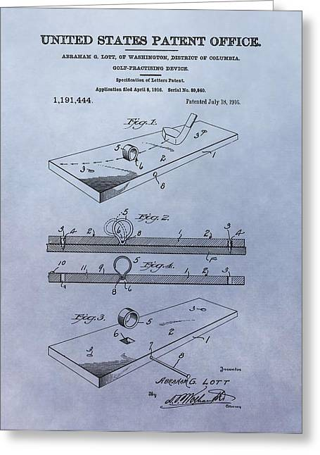 Putt Greeting Cards - Putting Practice Patent Greeting Card by Dan Sproul