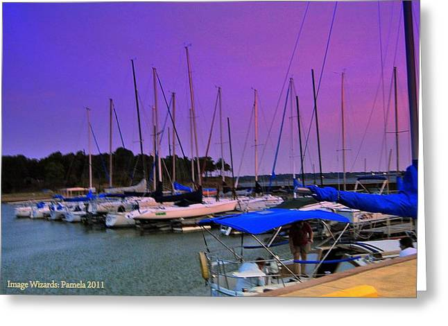 Best Sellers -  - Sailboats At The Dock Greeting Cards - Putting The Sails To Bed At Sunset Greeting Card by ARTography by Pamela  Smale Williams