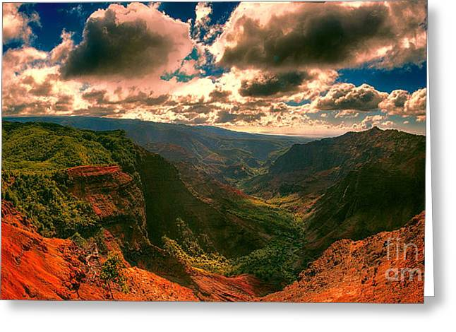 Waimea Valley Greeting Cards - Puu Hinahina Lookout-Waimea Canyon Kauai Hawaii V2 Greeting Card by Douglas Barnard
