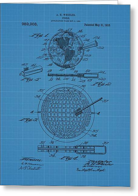 Puzzle Blueprint Patent Greeting Card by Dan Sproul
