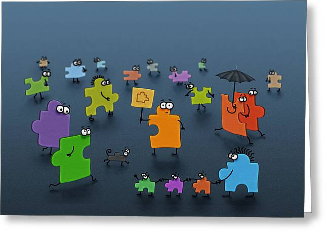 Puzzle Family Greeting Card by Gianfranco Weiss