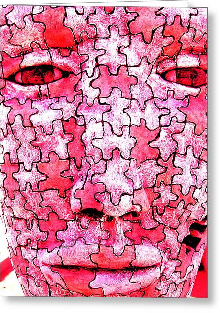 Pieces Sculptures Greeting Cards - Puzzled Man Greeting Card by M Pace