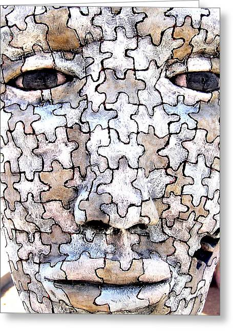 Pieces Sculptures Greeting Cards - PUZZLED MAN no2 Greeting Card by M Pace