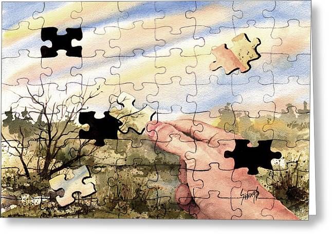 Puzzles Greeting Cards - Puzzled Greeting Card by Sam Sidders