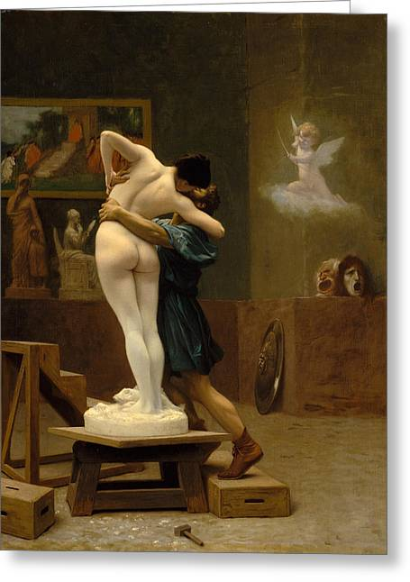 Galatea Greeting Cards - Pygmalion and Galatea Greeting Card by Jean-Leon Gerome