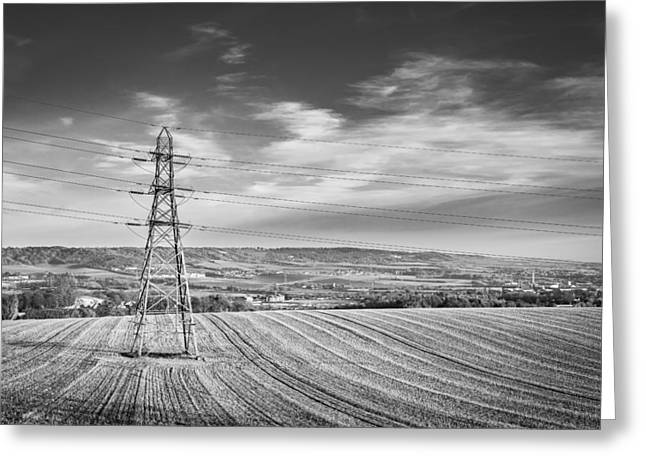 Electric Pylon Greeting Cards - Pylon Landscape. Greeting Card by Gary Gillette