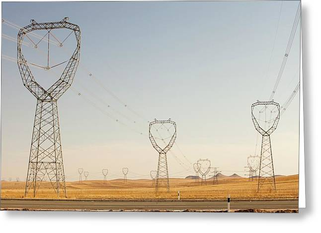 Pylons Greeting Card by Ashley Cooper