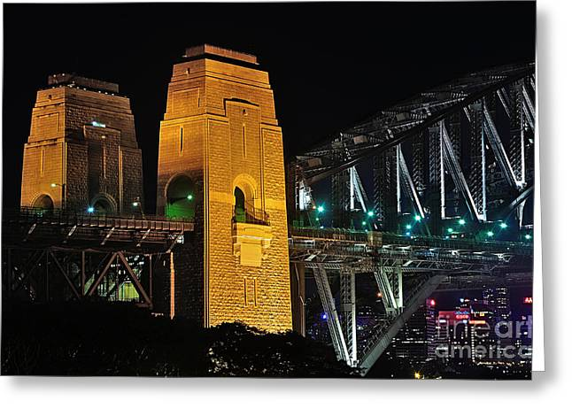 Illuminate Greeting Cards - Pylons of the Sydney Harbour Bridge Greeting Card by Kaye Menner