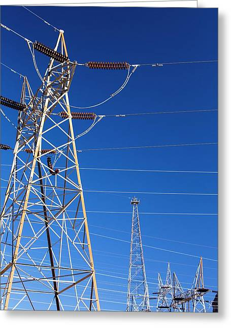 Pylons Taking Hydro Electricity Greeting Card by Ashley Cooper