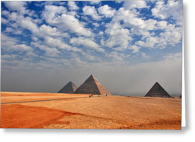 Pyramids Greeting Cards - Pyraimds in Giza Greeting Card by Beth Wolff