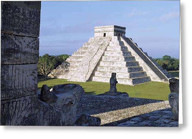 Mexican Culture Greeting Cards - Pyramid In A Field, El Castillo Greeting Card by Panoramic Images