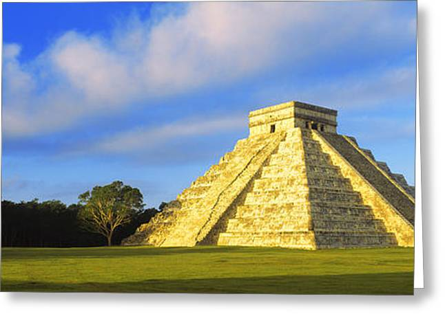 Mexican Culture Greeting Cards - Pyramid In A Field, Kukulkan Pyramid Greeting Card by Panoramic Images