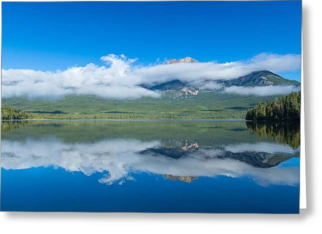 Park Scene Greeting Cards - Pyramid Lake With Pyramid Mountain Greeting Card by Panoramic Images