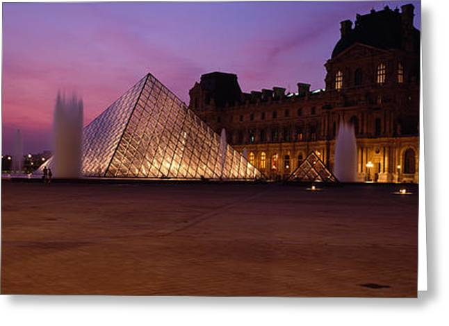 Pyramids Greeting Cards - Pyramid Lit Up At Night, Louvre Greeting Card by Panoramic Images
