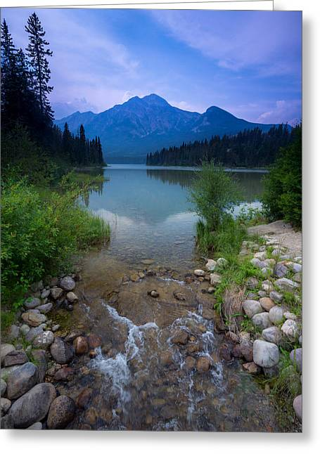 Pyramid Mountain And Lake. Greeting Card by Cale Best