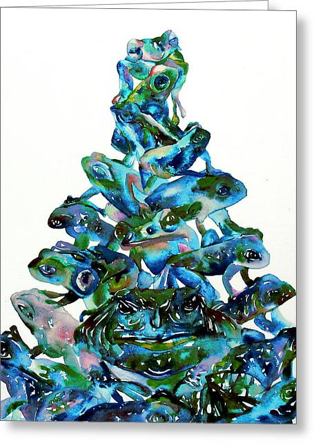 Pyramid Paintings Greeting Cards - PYRAMID of FROGS and TOADS Greeting Card by Fabrizio Cassetta