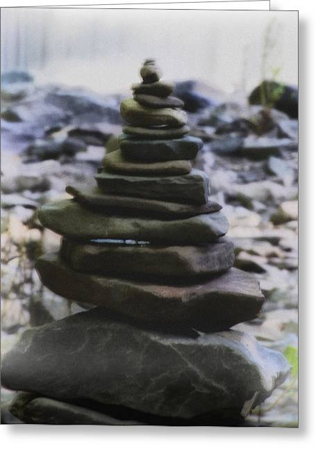 Pyramids Greeting Cards - Pyramid of Rocks Greeting Card by Bill Cannon