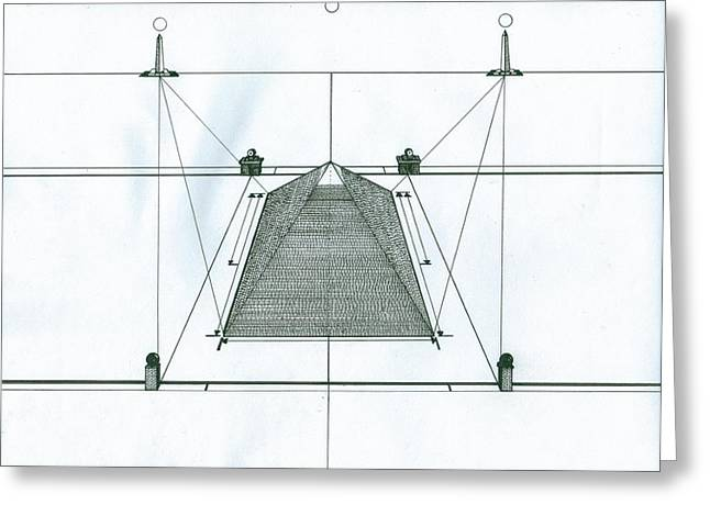 Pyramids Drawings Greeting Cards - Pyramid Greeting Card by Richie Montgomery