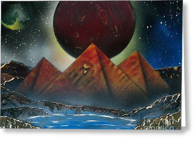 Outer Space Paintings Greeting Cards - Pyramids 4663 Greeting Card by Greg Moores