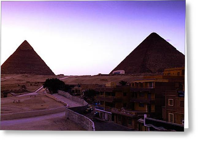 Pyramids At Sunset, Giza, Egypt Greeting Card by Panoramic Images