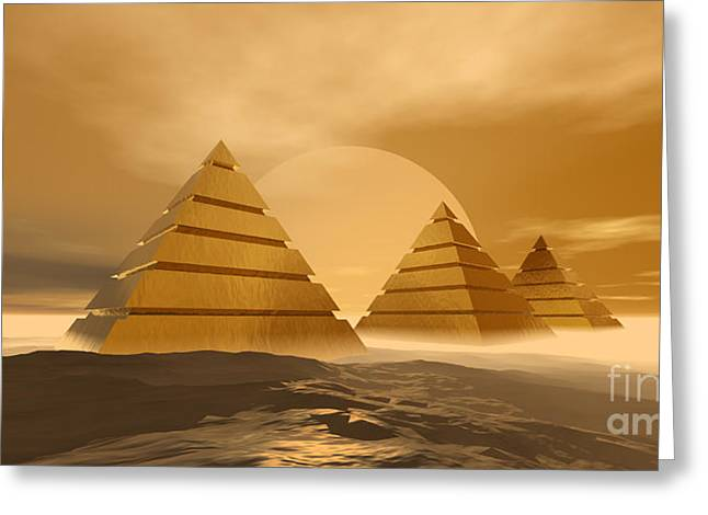 Pharaoh Digital Art Greeting Cards - Pyramids Greeting Card by Corey Ford