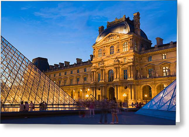 Pyramids Greeting Cards - Pyramids In Front Of A Museum, Louvre Greeting Card by Panoramic Images