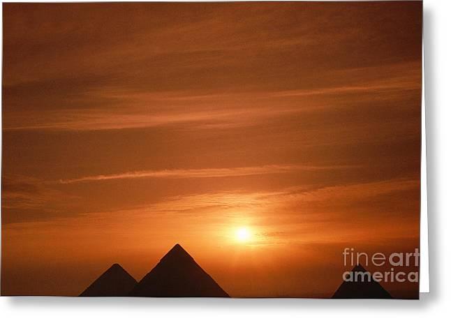 Pyramids Greeting Cards - Pyramids Of Giza Backlighted Greeting Card by Adam Sylvester