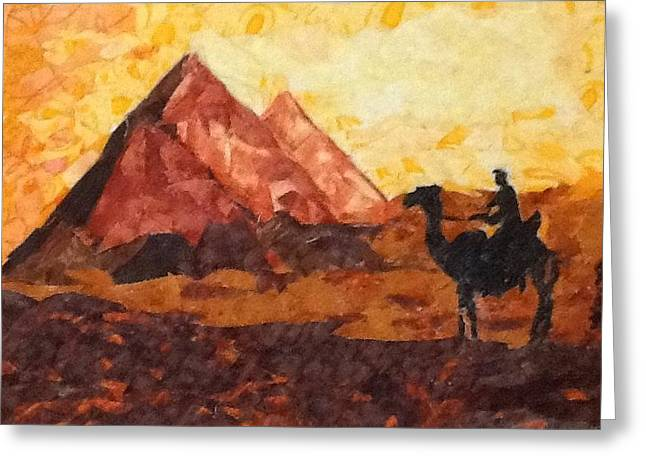 Pyramids Of Giza Greeting Card by Mihira Karra