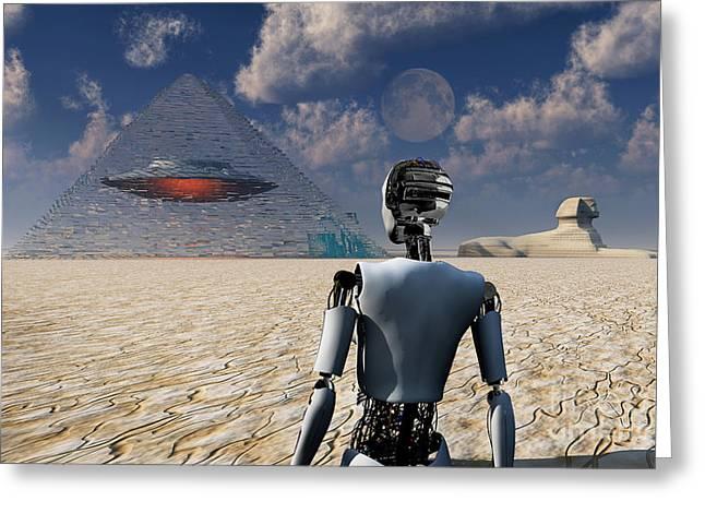 Ancient Ruins Digital Greeting Cards - Pyramids Used As Dimensional Doorways Greeting Card by Mark Stevenson