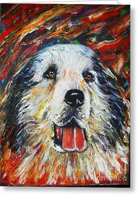 Tasos Greeting Cards - Pyrenean Mountain Dog Greeting Card by Anastasis  Anastasi