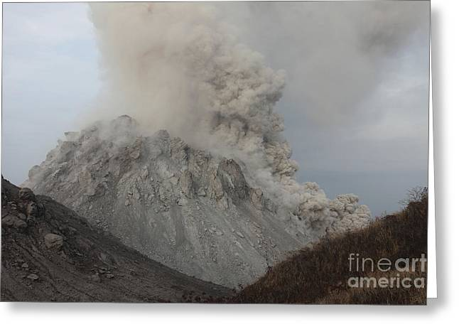 Emitting Greeting Cards - Pyroclastic Flow Descending Flank Greeting Card by Richard Roscoe