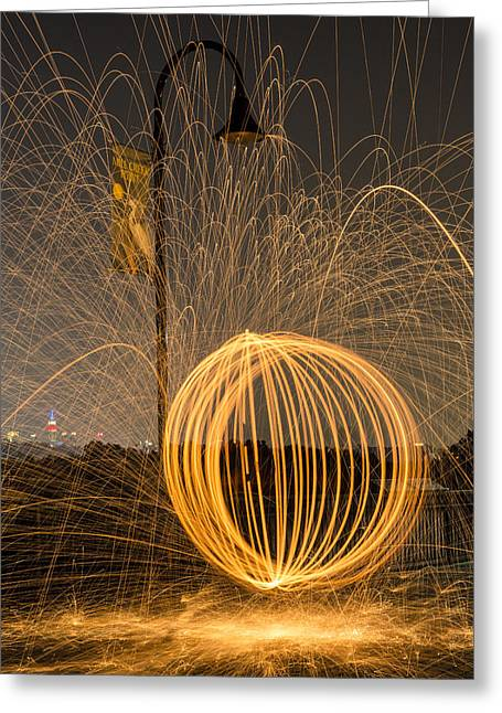 Ignition Greeting Cards - Pyrotechnics Greeting Card by Susan Candelario