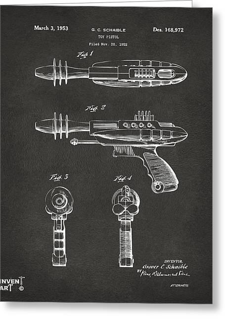 Office Space Greeting Cards - Pyrotomic Disintegrator Pistol Patent Gray Greeting Card by Nikki Marie Smith