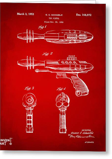 Futuristic Greeting Cards - Pyrotomic Disintegrator Pistol Patent Red Greeting Card by Nikki Marie Smith