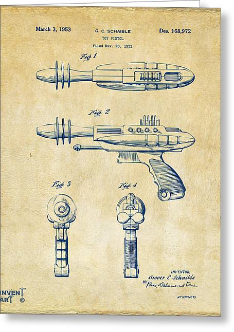 Office Space Greeting Cards - Pyrotomic Disintegrator Pistol Patent Vintage Greeting Card by Nikki Marie Smith