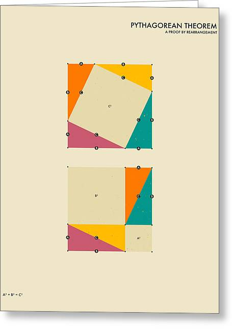 Geometric Art Greeting Cards - Pythagorean Theorem Greeting Card by Jazzberry Blue