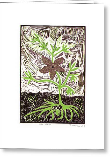 Linocut Paintings Greeting Cards - Qae Qane Greeting Card by T Kaashe