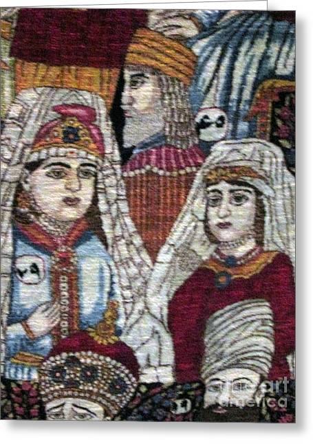 Carpet Tapestries - Textiles Greeting Cards - Qajar portrraits Qajat woman Photos of Persian Antique Rugs Kilims Carpets  Greeting Card by Persian Art